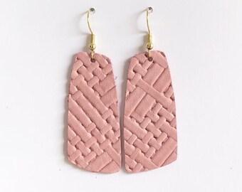 dusty pink weave leather earrings