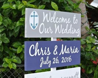Welcome to Our Wedding Destination Beach Sign, Wedding Nautical Decor, Wood Arrow Wedding Sign