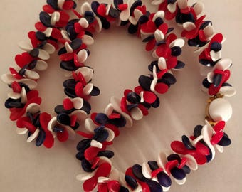 Hong Kong plastic red, white and blue necklace