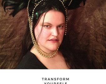 Mardi Gras samba style headdress. Festival, parade, carnival fantasy headpiece. Jeweled and featherd opal, green gold black, burlesque  wear