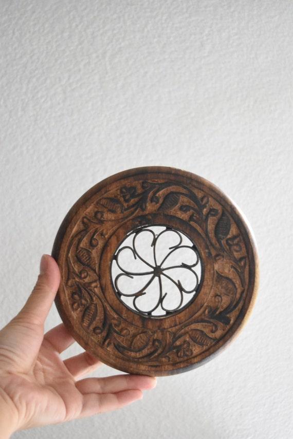 vintage carved solid wood metal trivet / plant stand / planter / boho / hot plate