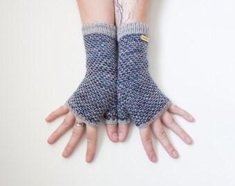Nebula Seeds ~ Knit Fingerless gloves, Fingerless glove mittens, Long knit gloves, Boho knit glove mittens, Women's Fingerless Mitts