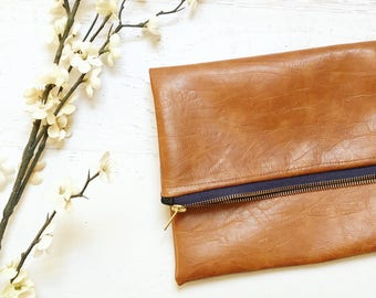 Vegan Brown Leather Foldover Clutch - Gift for her, Birthday, Anniversary, Bridesmaid