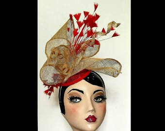 Gold Hat Red hat, Fascinator, gold Red, bespoke Formal Hats Derby Hat For races hat for wedding Quirky Headdress Luxury hats, unusual hat