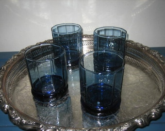 Vintage Anchor Hocking Blue Glassware - Cobalt Blue Faceted High Ball Or Water Glasses - Anchor Hocking Cobalt Blue Glasses x4