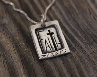 Faith Greater Than Fear Pendant, Sterling Silver Jewelry, Christian Jewelry, Cross Necklace
