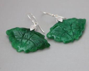 Carved Green Jade Sterling Silver Earrings, Carved Green Jade Butterfly with Leaf Bail Earrings, Green Jade Earrings, Green Jade Jewelry,