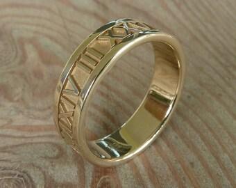 Bande de personnalisé à chiffres romains en or 14 carats, jaune ou blanc or, 6 mm de large