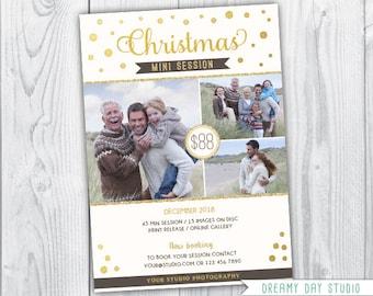 christmas mini template / christmas mini session template / christmas mini session / christmas mini / gold christmas mini session template