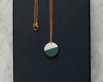 round porcelain geometric necklace