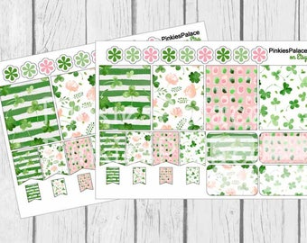 St Patrick's Day Planner Stickers Full Box Half Box Flags eclp PS453 Fits Erin Condren