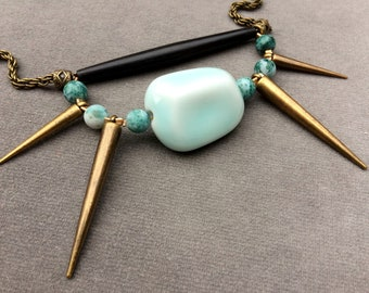Blue Crab, long necklace