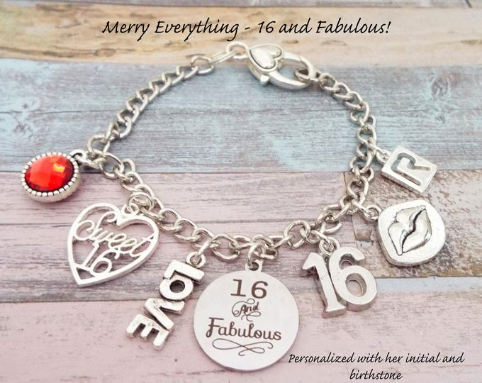 16th Birthday Gift, Girl's 16th Birthday, Daughter's 16th Birthday Gift for Girl,  Charm Bracelet, Personalized Gift, 16 Year Old Girl Gift