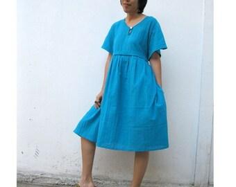 Custom Made Turquoise Blue  Cotton Short Sweet Dress S-L (H)