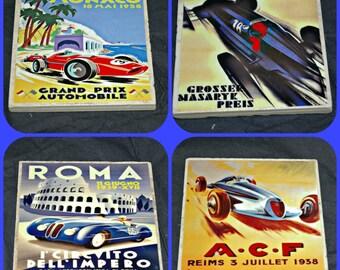 Auto Racing - Car Coasters - Stock Car Racing - Motor Racing - Coasters - Race Car Gifts - Race Car Coasters - Grand Prix - Racing Posters