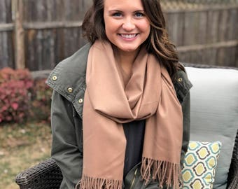 PERSONALIZED SCARF - Monogram Blanket Scarf - Monogram Pashmina - Gift for Her - Mothers Day Gift - Teacher Gift - Camel Scarf - Beige Scarf