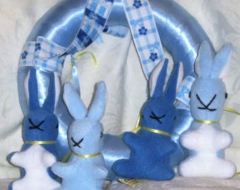 Dual Colour Rabbit Toy Mobile Fleece Baby Rabbit Ornament Two-Colour Rabbit Nursery Mobile Blue Kids Room Decoration Blue Child's Room Decor