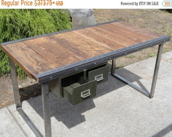 Limited Time Sale 10% OFF Authentic Industrial Office Desk with Raw Steel Rectangular Legs