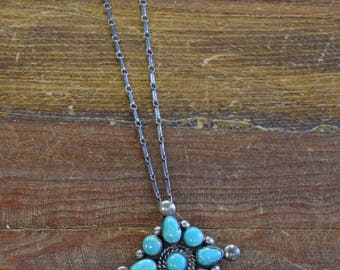 Vintage Southwestern Turquoise Sterling Silver Pendant and Chain