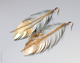 Feather Earrings, Gold Dipped Feather in White Leather, Bohemian Statement Leather Earrings, Boho Wedding Jewelry, Dangle Fringe Earrings
