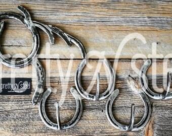 Horse Horseshoe Coat / Tack Rack - Staggered