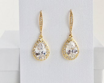 Gold Cubic Zirconia Earrings Gold Bridal Crystal Earrings Wedding Gold Jewelry Wedding Teardrop Gold Earrings Bridesmaid Gold Drop Earrings