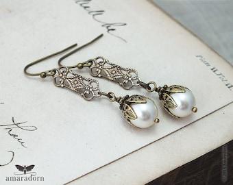 Edwardian Ivory Pearl Earrings, Pearl Bridal Earrings, 1920's Inspired Earrings, Brass Filigree Earings, Vintage Style Wedding, Handmade UK