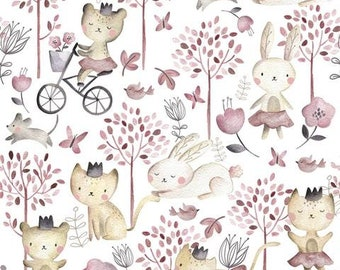 Bunnies, Cats Play Day 12972 Forest Play White - Cotton Quilting Fabric by the Half Yard - Quilt Pattern Available in Bundles Section  - FWM