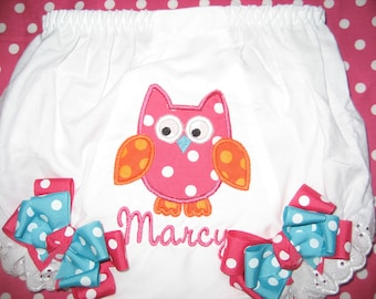 Baby girls owl bloomers, pink and orange owl bloomers, birthday owl bloomers, first birthday, monogrammed bloomers, personalized bloomers
