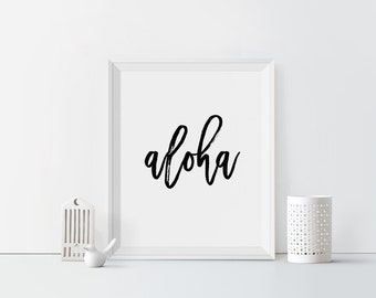Aloha Printable art Aloha print Typography Hello Hawaii Greeting Hawaii art Summer print Beach art print Hawaiian Wall art Calligraphy print