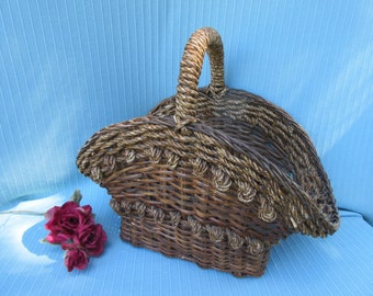"""Vintage,large,18"""" x 20"""",brown,rectangle,oval,heavy duty, basket,wicker w rope trim & covered handle,decorative knotted,rosette, rope design"""
