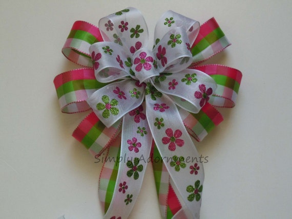 Pink Green Plaid Easter Wreath Bow Spring Floral Wreath Bow Pink Green Wedding pew Bow Pink Green Birthday Party Decor Pink Green Gifts Bow