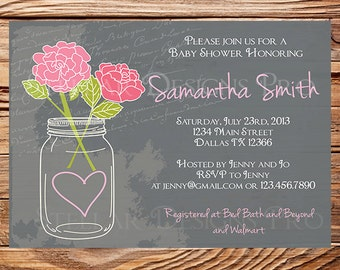 Baby Shower Invitation, Mason Jar, Roses, Pink, Purple, Coral, Gray, Navy, Vintage Mason Jar Baby Shower Invitation, Chalkboard, 1168