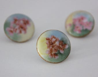 Vintage Hand Painted China Porcelain Stud Buttons