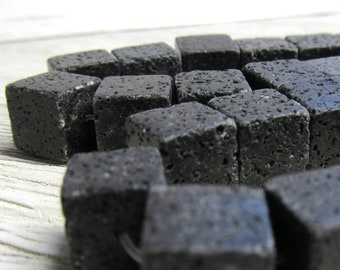Lava Beads 12 x 12mm Jet Black Natural Smooth Cube Stones - 10 Pieces