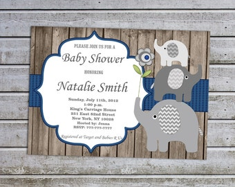 Elephant Baby Shower Invitations for Boys Baby Shower invitations Printable Baby Shower Invites -FREE Thank You Card Instant Download (06w)