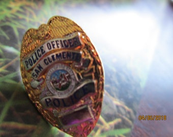 "SAN CLEMENTE Police Officer 1"" miniature Gold tone mini  Badge Hat lapel Pin Tie Tac California"