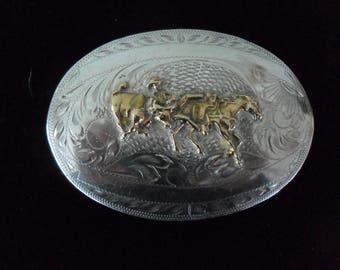 Western Belt Buckle Hand Engraved Vintage Sterling over Nickle Silver
