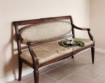 Antique Sofa Solid Wood Salon  Settee 1900s