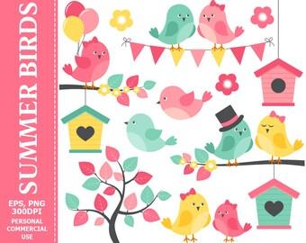 Summer Birds Clip Art - Bird, Summer, Flowers, Branch, Bunting, Bird House Clip Art