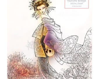 Digital Stamp - Instant Download - Japanese Oiran in Kimono w/ Skull and Spider Lily - Dark Fantasy Line Art for Cards & Crafts