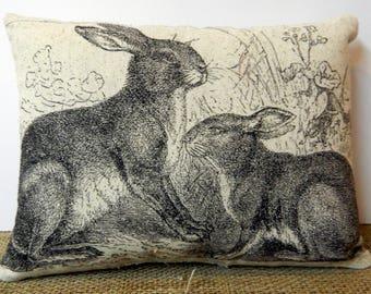 Bunny Rabbit Pillow Handmade Pillow