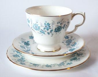 Colclough Braganza 1960s Teacup Set,  Hyacinth Bucket's 'Hand Painted Periwinkles', Colclough Blue / White Gold Trim Tea Cup, Saucer & Plate