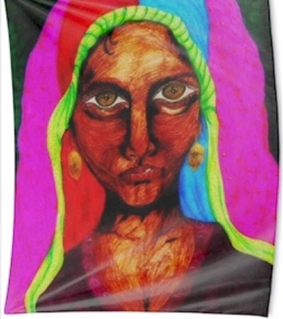 """Wall Hanging of Original Ink Painting, """"ZULFIZAR,"""" by Hoosier Artist Stacey Torres"""