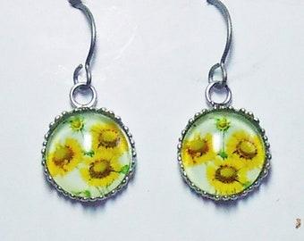 Sunflower Mandala Earrings Titanium Hypoallergenic For Sensitive Ears
