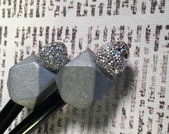 Silver Beaded Hairstick Set - Bead Hair Sticks