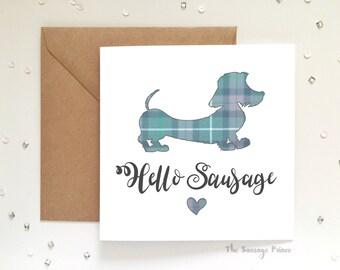 Hello Sausage, Dachshund Dog Greeting Card 148mm x 148mm