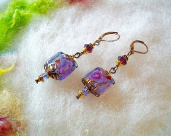 Earrings with Glass Beads Small Vintage Style Dainty Earrings Filigree Bead Caps Blue with Pink Swirl Rose Lamp Work Bead Boho Hippie Beads