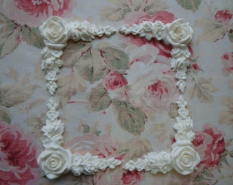 New! Shabby and Chic Large Rose Floral Corner Spandrels 4 pc. Furniture Applique Pediment Trim