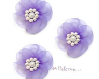 Purple set of 5 flowers embellishment scrapbooking cardmaking fabric *.